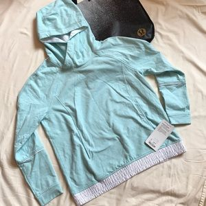 NWT Light Blue with white satin detail Hoodie